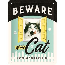 Beware of the cat skylt 15x20 cm