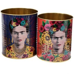 Kruka / plåtburk Frida Kahlo 2 pack lila/orange