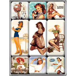 Magnetset retro pin up summer 9 småmagneter