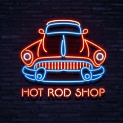 Neonskylt hot rod shop
