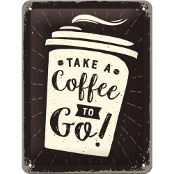 Coffee to go skylt 15x20 cm
