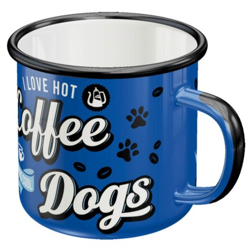 Emaljmugg Hot Coffee and Cool Dogs