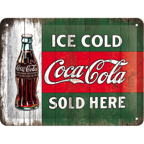 Skylt coca cola ice cold bottle 15x20 cm