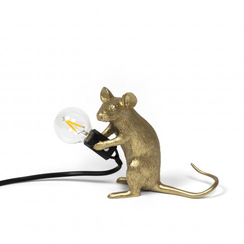 Mouse lamp mac #2 gold seletti