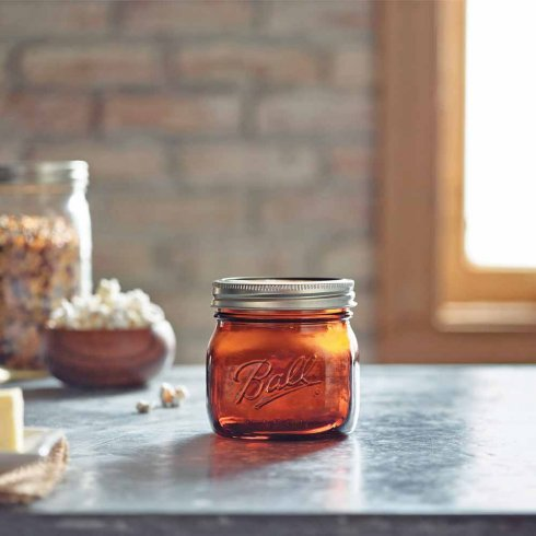 Mason jar amber pint wide mouth
