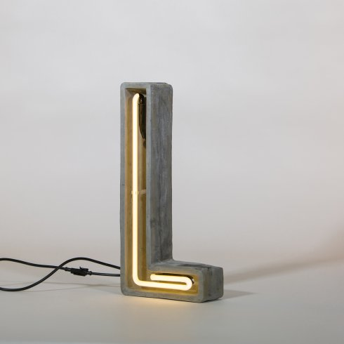 Alphacrete L - neon light in cement - Seletti