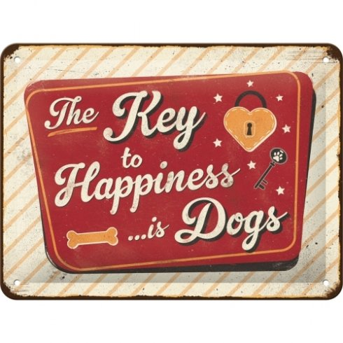 Happiness is dogs skylt 15x20 cm
